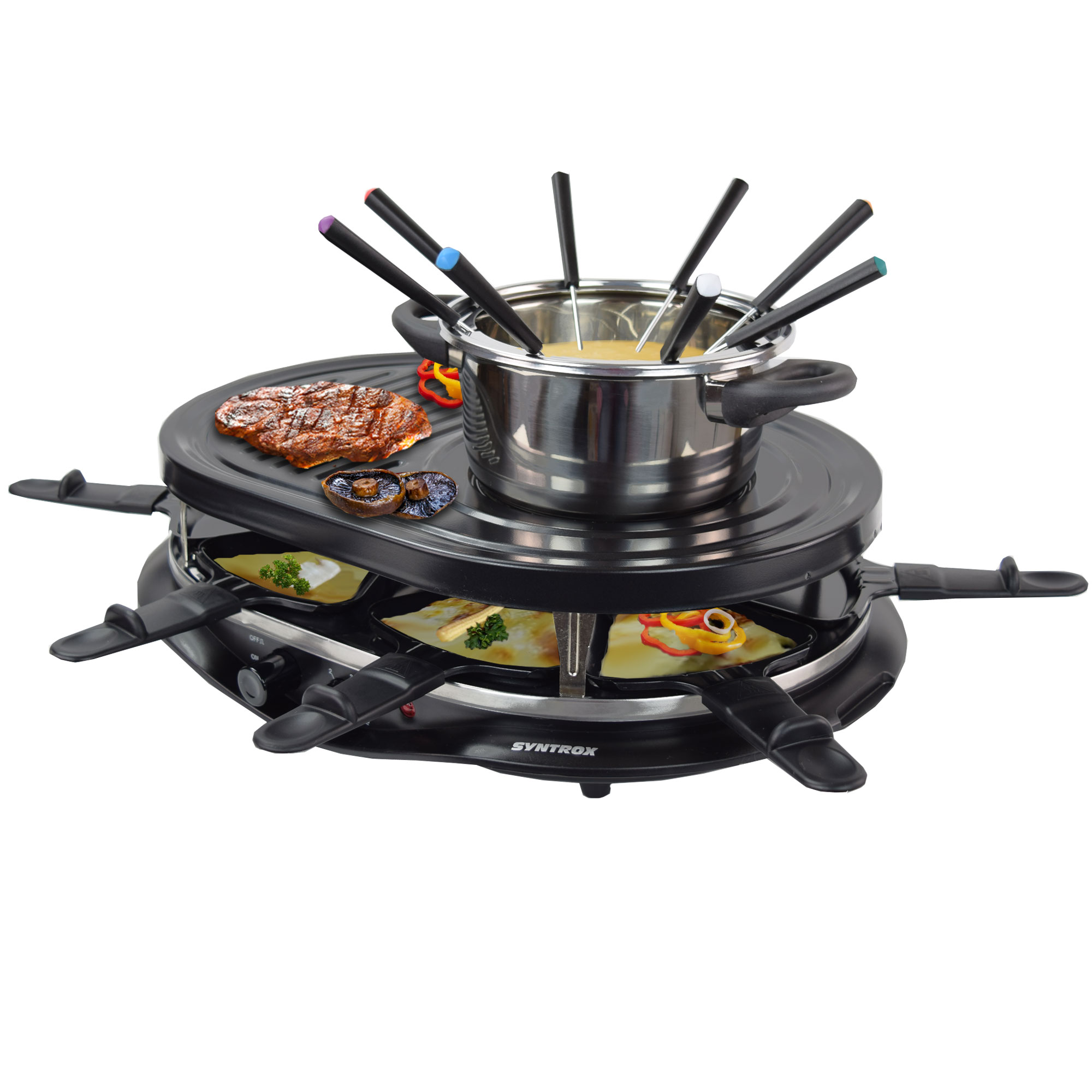 4 in 1 raclette grill heisser stein fondue f r 8. Black Bedroom Furniture Sets. Home Design Ideas