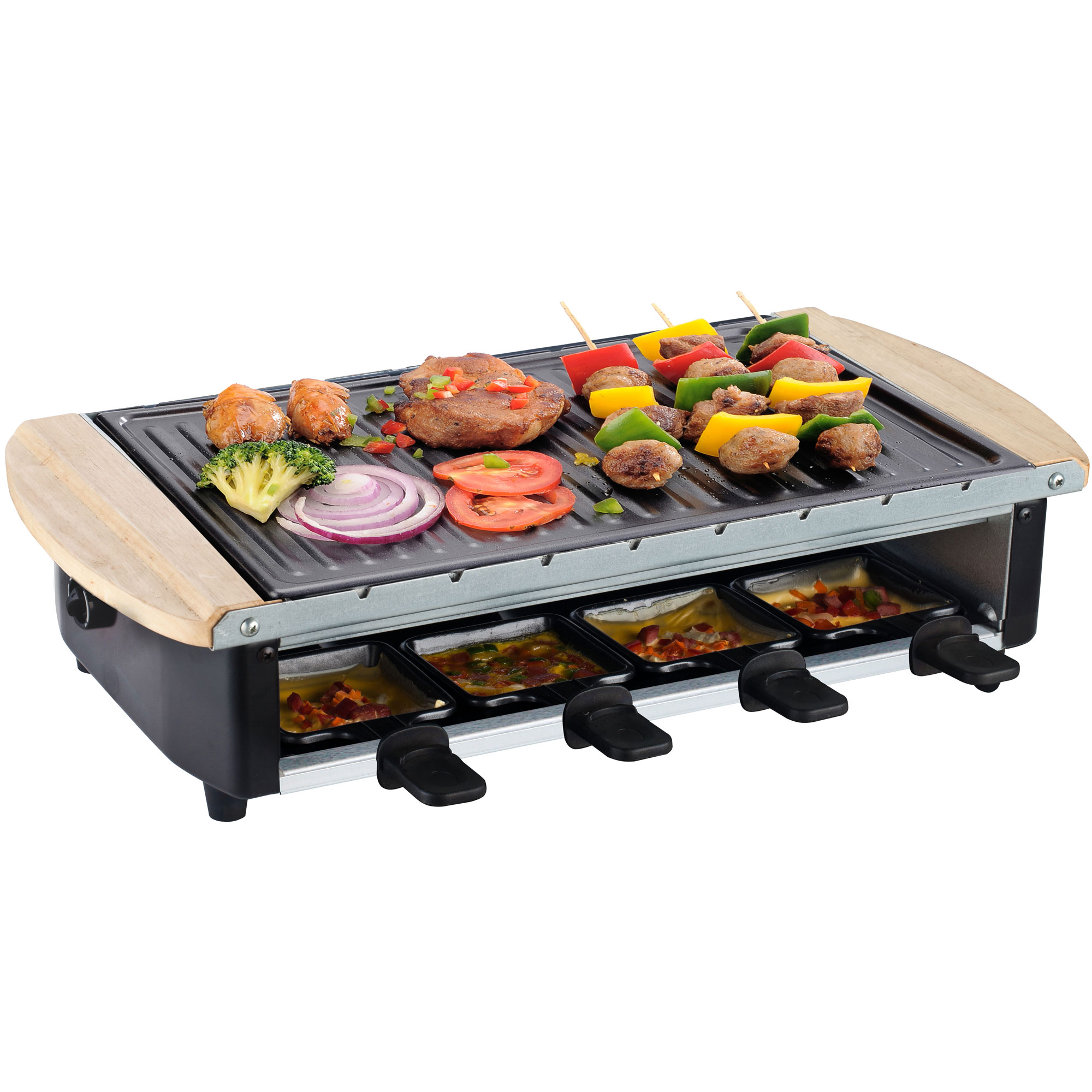 edelstahl raclette uri f r 8 personen hei er stein grill mit 3 platten syntrox ebay. Black Bedroom Furniture Sets. Home Design Ideas